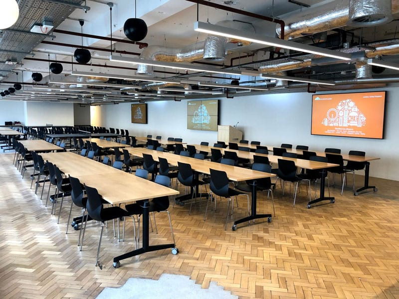 Cloudflare Venue 2019 the event space with large screens and seating