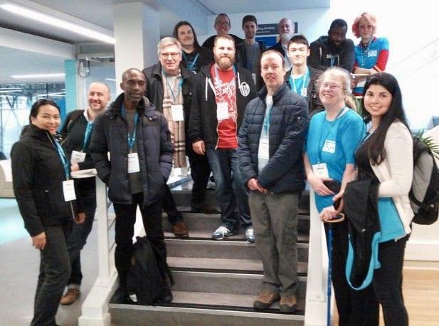 WordCamp London volunteers with Babs